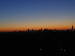 PRIMROSE HILL view over london at dawn
